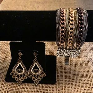 Jewelry - Bronze Tone Earrings & Bracelet Set